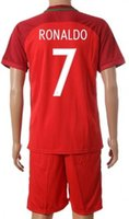 Wholesale Set Cheap Cups - 2016 European Cup National Team 7 RONALDO Home Soccer Jersey Sets,discount Cheap 7 FIGO uniforms,22 CARVALHO Football Jerseys Soccer KITs