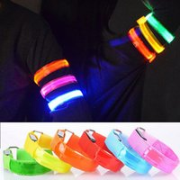 Wholesale Led Bracelets Lights Flashing Glowing Wrist Band Arm Bracelet Strap LED Armband Reflective For Outdoor Sport Safty Birthday Party Disco