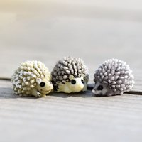 animal desktops - 300pcs Mini Cute Hedgehog Resin Craft Home Desktop Decor Artificial Animal Micro Landscape Fairy Garden Gnome Moss Ornaments Gift ZA0679
