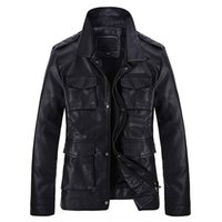 Wholesale Fall New PU Leather Jacket Coats For Men Muti Pockets Vintage Branding Leather Coats Casual Motorcycle Leather Jacket Cool S1773