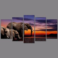 Wholesale 5pcs set Big size Landscape decoration animal elephants wall art picture dusk Canvas Painting living room home decor unframed