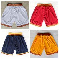 Wholesale Cleveland Basketball Shorts Cleveland Lebron James Kyrie Irving Kevin Love White Red Yellow Dark Blue Rev Basketball Shorts