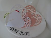 Wholesale 100PCS Laser Cut Hollow Love Shape Heart Paper Table Card Wedding Favors Invitation Wine Cup Name Card