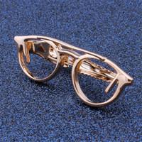 Wholesale 1 pair Retail Rhodium Sliver Rose Gold Tie Clip Glasses Design Pattern Free Style Men s Tie Tack Pins