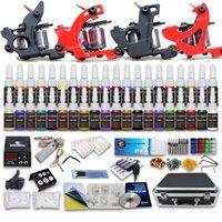 Cheap 4 Guns complete Tattoo Kits Best Professional Kit Professional tattoo kits power supply color inks