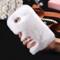 Wholesale Genuine Rabbit Fur Hair Case Glitter Diamond Cover For iphone Plus G S Plus inch inch