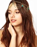 Wholesale Bohemia Draping Turquoise Crown Cuff gold Chains Headband Headwrap Headdress Bridal Hair Jewelry Wedding Tiaras Hair Accessories