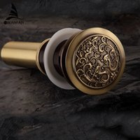 bathroom vanities without sinks - New Antique Brass Chinese Dragon Style Bathroom basin waste Pop Up Waste Vanity Vessel Sink Drain Without Overflow PLF00A11XX