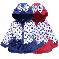 Wholesale New Arrival Girls Child Clothing Hooded Winter Warm Minnie Mouse Cartoon Coat Kids Outwear Bowknot Cotton padded Jacket