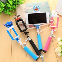 Wholesale 2016 cartoon Audio cable Integrated Monopod wired Selfie Stick Extendable Handheld Built in Shutter and Clip for iphone Android color