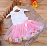 Wholesale New Girls Summer Dresses Sleeveless Rose Flowers Kids Princess Dresses Gauze Tutu Dress Children s Clothes Girls Vest Dresses Pink
