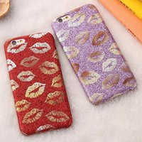 artistic lips - Fashion Artistic Pattern Glitter Powder Leather Case For Apple iPhone S For iPhone Plus S Plus Pretty Girl Lip Back Cover