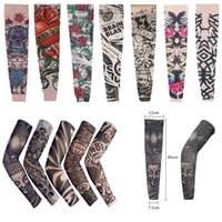 Wholesale Body Art Arm Stockings Fake Temporary Tattoo Sleeves Unisex Tattoo Wears Driving Sleeves Mix Styles Free DHL L4