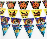 Wholesale New Halloween pumpkin decoration pennant flag hanging skeletons dance party factory direct decorative string flag