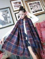 Wholesale 2016 new super beautiful ladies cashmere scarf Plaid Scarf Shawl fringed solid winter warm dual purpose scarf cm retail and
