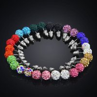 Wholesale 14 Colors MM Shamballa Brand Earrings Micro Disco Ball Shamballa Crystal Stud Earring For Women Fashion Jewelry