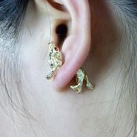 Wholesale Fashion Earring Gold Silver Black Crystal Eye Dog Ear Cuff Earrings For Women Wedding Earings Girl Jewelry DHE030