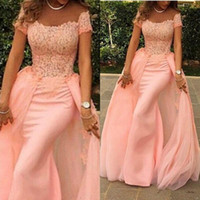 Wholesale Detachable Fashion Blush Pink Mermaid Elegant Evening Gowns Sleeves Off the Shoulder Short Sleeve Lace Prom Dresses Special Occasion