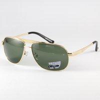 Wholesale Men Polarized Sunglasses Gold Alloy Frame Goggles Fahsion Deep Green Len Sun Glasses Shade Point Read Eyewear Eye Glassses UV400 Driving2861