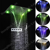 bathroom sets with shower curtain - Luxury bathroom shower set mm rainfall waterfall water curtain embeded ceiling mounted led shower head with brass mixer valve