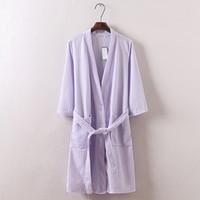 bathrobe fabric - Hot sale Summer Waffle cotton fabrics seven colors simple casual women robes Long sleeve bathrobe for hotel beauty salon robes