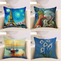 beautiful marine fish - Marine Fishing Boat Beautiful Sunshine Art Oil Painting Pillow Case Cover Massager Decorative Pillows Home Decor Gift