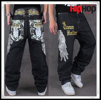 baggy pants jeans - New Embroidery Big Size Hip Hop Jeans Baggy Jeans Pants Man BlackColor Hiphop Loose Wing Trousers Men Jeans Big Size Pantalones