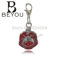 Wholesale Delta Sigma Theta Sorority Shield Charm With Small Lobster Hook