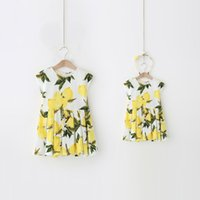 Wholesale 2016 Summer Newest Designs Fashion Family Clothing Set Mom And Daughter Sleeveless Fruit Lemon Print Dress Family Matching Clothes Sets
