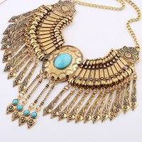 Wholesale Hot sales metal texture carved tassel necklace pendant women jewelry Europe and the United States fashion trend of retro national wind