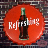 antique coke bottle - Refreshing Coke Metal Round Tin signs Beer Bottle Cap Antique Poster Home decor Pub Wall Decor cm RD