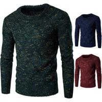 Wholesale Thick Men Warm Sweaters Crew Neck Warm Contrast Color Knitwear For Men Long Sleeve Winter Coarse Wool Pullover Men Sweater J161010