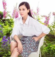 animal strips - White shirt Lapel Neck Shorts Sleeve for Women Formal Summer Dresses Strip Animal Print Mid Waist High Quality
