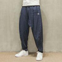 men capri pants - Men trousers Japanese Samurai Style Boho Casual Low Drop Crotch Loose Fit Harem Baggy Hakama Capri Linen Pants Trousers