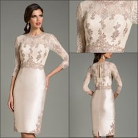 Wholesale 2017 New Sexy Lace Long Sleeves Satin Sheath Cocktail Dresses Lace Applique Knee Length Party Short Evening Prom Dresses
