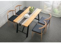 Wholesale American loft iron wood table Retro Old square wood furniture can be customized to the restaurant table