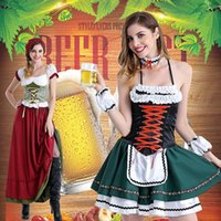 beer bavaria - Anime German Bavaria Oktoberfest Beer Festival Cosplay Costume Traditional Maid Dress Dirndl Gothic COS Party Dresses Wench Costumes