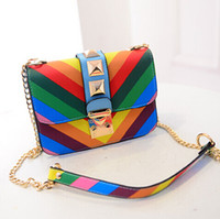 beach crossbody bag - Crossbody bags for Women Famous Brand Rivets MIKKOSHOP Beach Rainbow Valentine Bag PU Clutch Rivet Chains Fringe bag Valentined