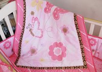 adult diaper bags - Promotion embroidery Baby Bedding Set Newborn Crib Blanket include bumper duvet bed cover bed skirt diaper bag