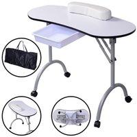 Wholesale New Portable Manicure Nail Table Station Desk Spa Beauty Salon Equipment White