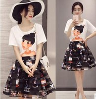 big black apparel - Wonen Clothing New T Shirt Tops Skirt Set Big Girl Summer Casual Skirt Set Women Pinting Fashion Apparel Set VCDD4