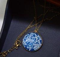antique bronze flower vintage pendant - Vintage Fine Jewelry Fashion Glass Statement Necklace Antique Bronze Oval Flower Girl Deer Alloy Necklace Pendant For Women