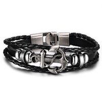 Wholesale New Arrival DIY Handwaven Men Jewelry Fashion Exquisite Stainless Steel Bracelets Statement Leather Anchor Bracelet For Birthday Gift