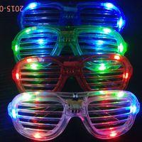 Wholesale 2016 LED Light Glasses Flashing Shutters Shape Dances Party Supplies Festival Decoration Christmas Hollowen Party Night Club Glasses