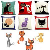 Wholesale 18 quot Cute Cat Pillow Cover Lovely Meow Star Square Cotton Linen Pillow Case Cushion Case Style Home Car Decor