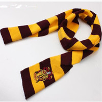 knitted cashmere scarf - Unisex Cotton Patchwork New Arrival Magic House Harry Potter Knitted Stripe Scarf Cosplay Warm Costume Scarves Wraps