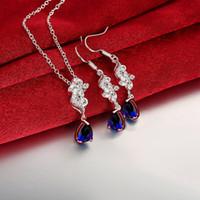 asian fashion online - Women s love fashion flower silver necklace earring jewelry sets brand new sterling silver blue gemstone set online for sale GTFS124A