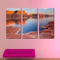 bay pictures - LK3196 Panels Padre Bay Lake Powell Utah Seascape Oil Painting For Modern Home Decoration Print on Canvas Giclee Artwork Framed Unframed