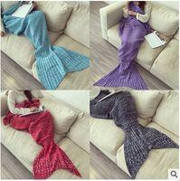 adult mermaid fin - Hot SALE colors winter Mermaid Tail Fleece Blanket Soft Handmade Lap Throw Bed Wrap Fin Warm Cocoon Costume Adult Sleeping Bag