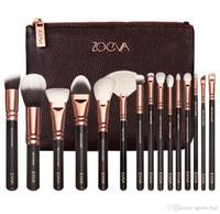 El precio bajo! Zoeva de cepillo del maquillaje de lujo Profesional Set Maquillaje Kit de Herramientas Zoeva 15 PCS Rosa de Oro en polvo Mezclar los cepillos